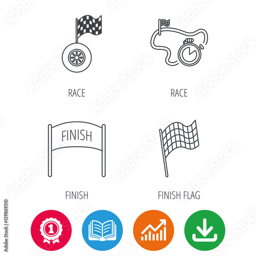 Foto op Plexiglas F1 Finish flag, race timer and wheel icons. Race track linear sign. Award medal, growth chart and opened book web icons. Download arrow. Vector