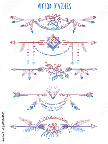 Foto auf AluDibond Boho-Stil Hand drawn bohemian style dividers with arrows flowers and feathers. Vector illustration