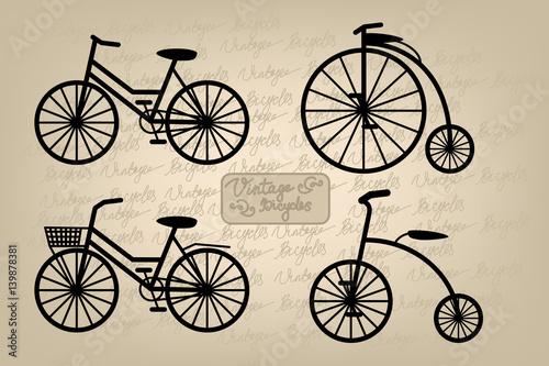 Fotobehang Kranten Retro and vintage bicycles silhouettes