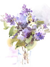 Watercolor Flowers Lilac In A Vase Hand Painted Floral Background Illustration