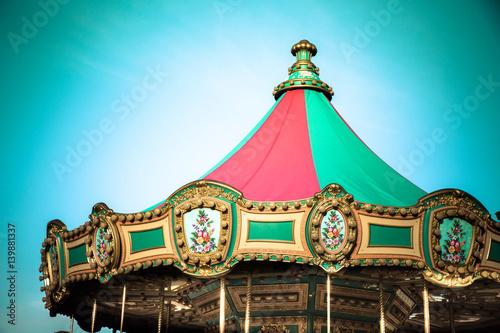 Fotografie, Obraz  Top of Ornate vintage carousel