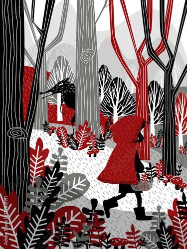 Little Girl in Red Hood Walking in Forest Fairy Tale Illustratio - 139881911