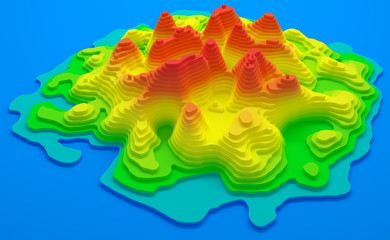 Topographical map of an isl...