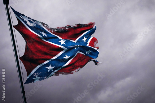 closeup of ripped tear grunge old waving confederate flag of the national states Wallpaper Mural