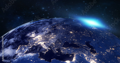 In de dag Heelal blue planet earth from space showing europe continent at night, globe world with blue glow edge and sun light sunrise, some elements of this image furnished by NASA