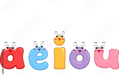 Vowel Letters Small Mascot Wallpaper Mural