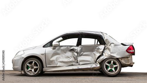 Fotografie, Obraz  Isolate side car crashed.