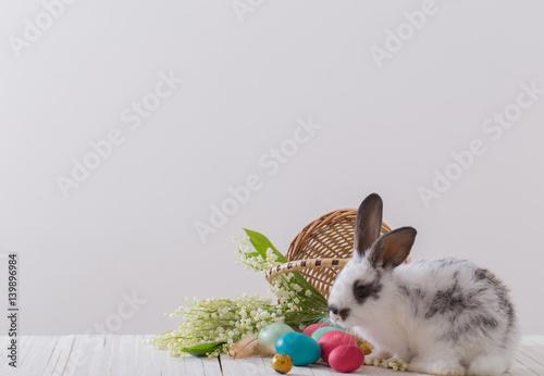 Plakat Królik z wiosennych kwiatów i pisanki na białym tle