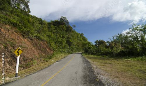 Fototapeta The Curve road and blue sky obraz na płótnie