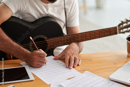 Writing music Canvas Print