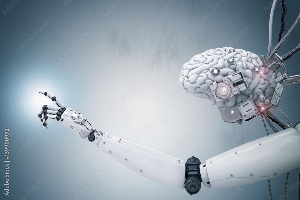 Fototapety, obrazy: cyborg brain working