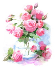 Watercolor Roses Flowers In A ...