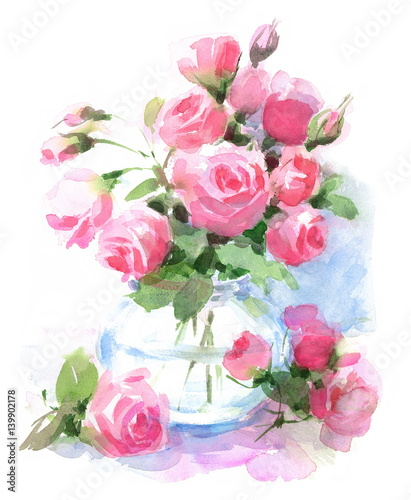 Watercolor Roses Flowers In A Vase Floral Hand Painted Illustration