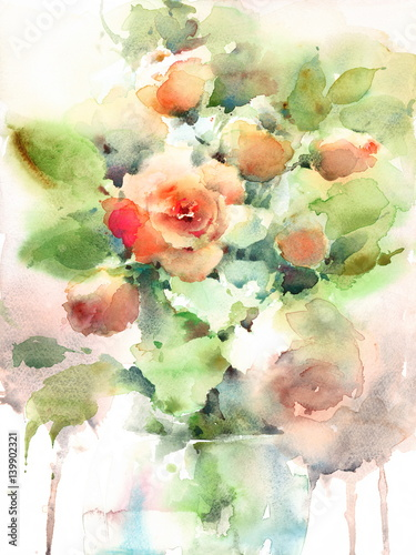 Watercolor Roses Flowers In A Vase Floral Background Texture Hand