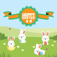 Bunny Easter Background