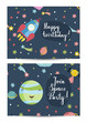 Happy birthday cartoon greeting card on space theme. Spaceship flying in cosmos among stars and planets, smiling Uranus planet, alieb girl vectors. Bright invitation on childrens costumed party
