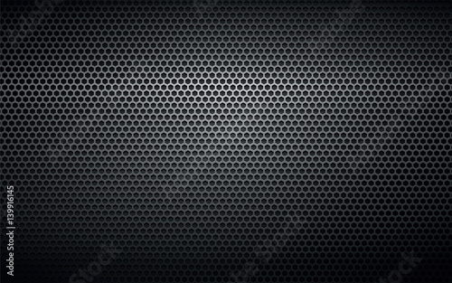 Poster de jardin Metal black perforated metal background texture
