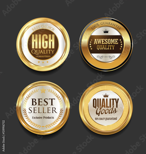 Fototapety, obrazy: Golden badges and labels with laurel wreath collection