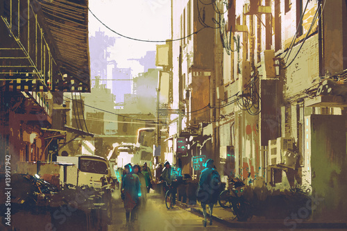 futuristic urban concept showing people walking in city street,illustration painting