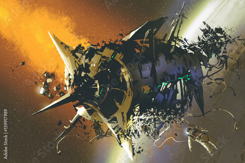 the damaged spaceship and dead astronaut floating in outer space,illustration painting