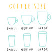 Choose coffee size. Vector hand drawn illustration