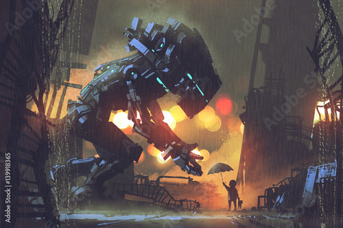 Foto op Aluminium Grandfailure kid giving umbrella to giant robot in the rainy night,illustration painting