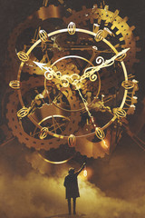 Fototapeta Industrialny man with a lantern standing in front of the big golden clockwork,illustration painting