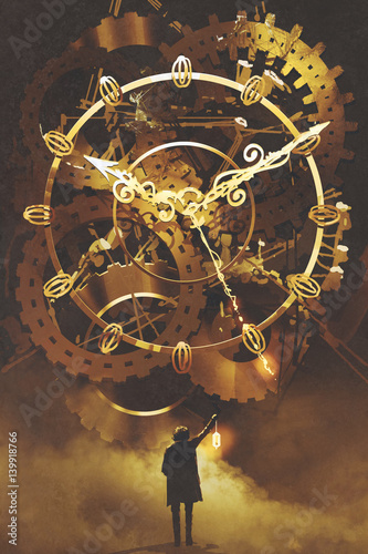 Photo man with a lantern standing in front of the big golden clockwork,illustration pa