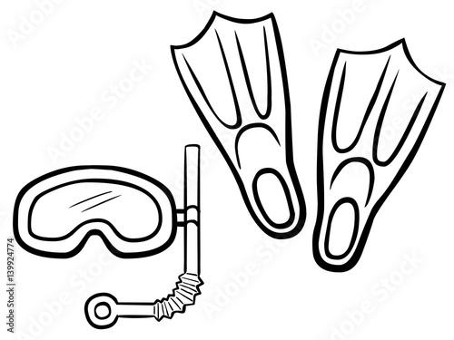 schwarzweiß zeichnung taucherbrille schnorchel