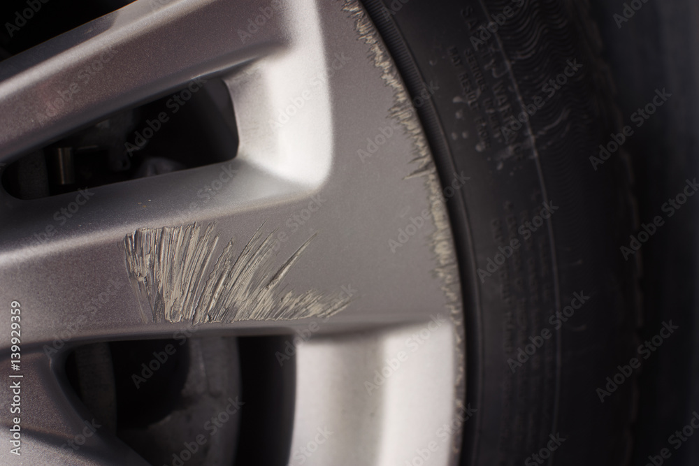 Fototapety, obrazy: Car wheels scuffing waiting in repair. selective focus.