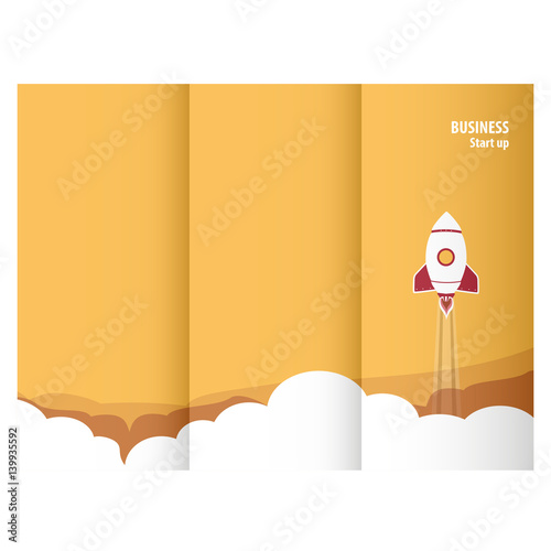 Start up rocket triptych for online business Wall mural