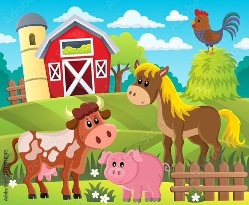 Fotobehang Boerderij Farmland with animals theme 1