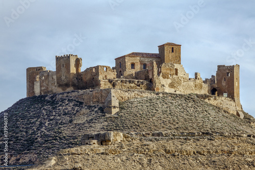 Ruins of a Castle at Montearagon at sunset Huesca Spain