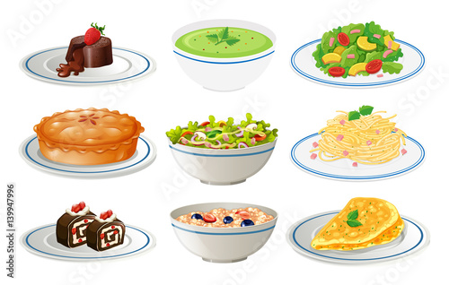 Fototapeta Different kinds of food on white plates obraz