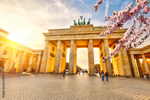 Photo  Brandenburg gate at spring, Berlin