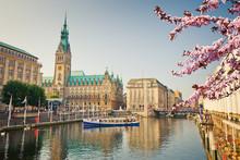 Hamburg Townhall And Alster Ri...