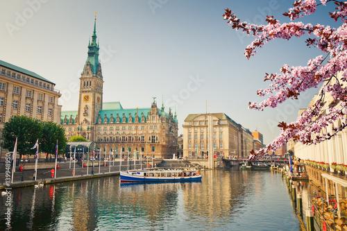 Fotomural  Hamburg townhall and Alster river at spring
