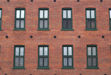 Red Brick Wall Windows Residential Building Facade