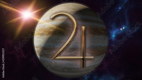 Fototapeta  Jupiter zodiac horoscope symbol and planet. 3D rendering