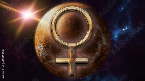 Fotomural Venus zodiac horoscope symbol and planet. 3D rendering