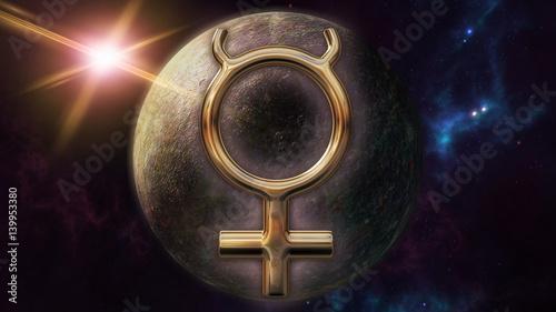 Obraz na plátně  Mercury zodiac horoscope symbol and planet. 3D rendering