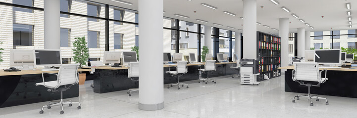 Fototapeta na wymiar Großraumbüro - Bürogebäude - Bürofläche - Gewerbefläche - Immobilie - Panorama