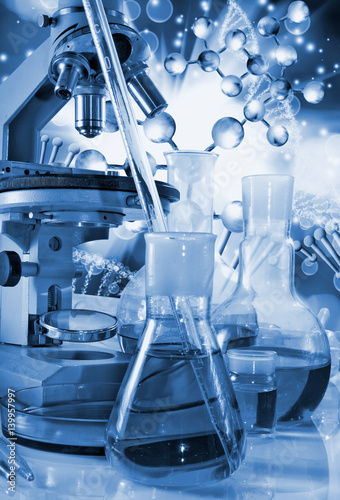 Spoed Foto op Canvas Muziekwinkel images chemical glassware and instruments closeup