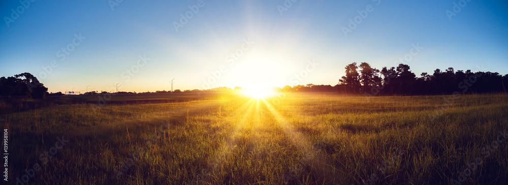 Fototapeta Sunrise country landscape