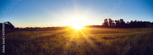 Door stickers Beautiful morning Sunrise country landscape