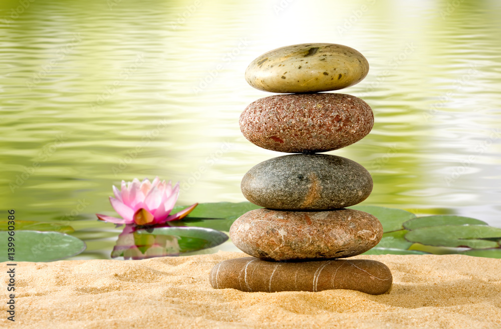 Photo Art Print Stones And Lotus Flower On The Water Europosters