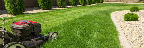 Poster Jardin Lawn mower on green grass