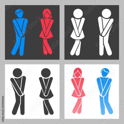Vector funny boy and girl toilet icons or female male bathroom symbols