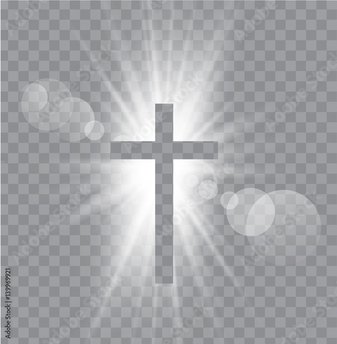 Fotografie, Obraz  Religioush three  crosses with sun rays  transparent background