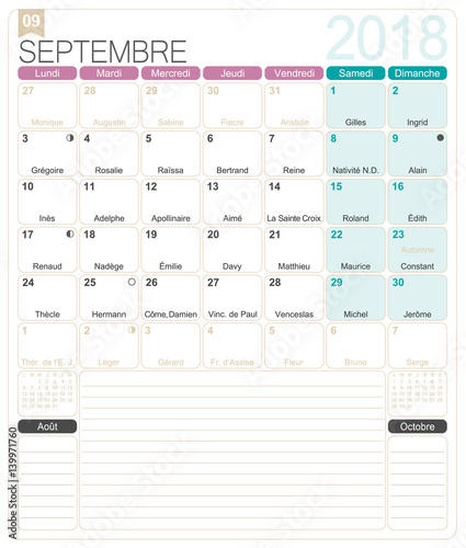 French Calendar 2018 September 2018 French Printable Monthly